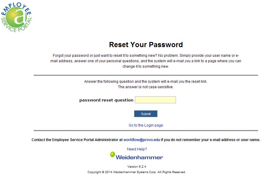 screenshot of resetting ALIO password anwser password