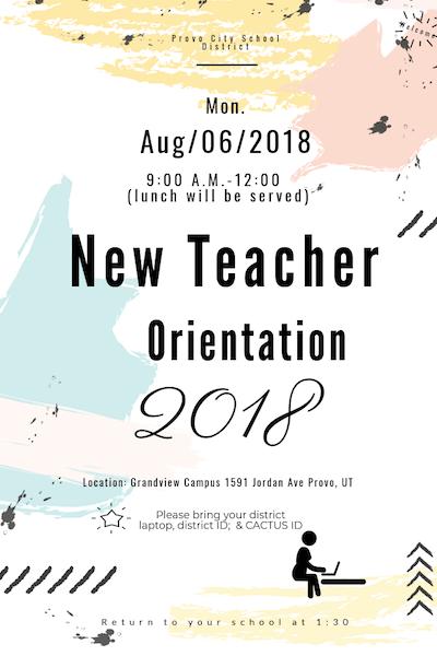 new teacher orientation flier