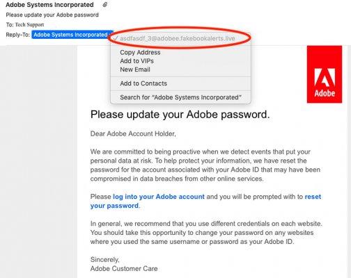 screenshot of phishing example